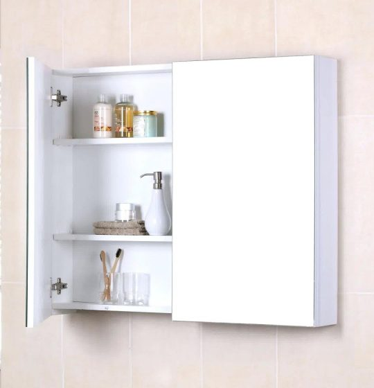 Permalink to Large White Bathroom Mirror With Shelf