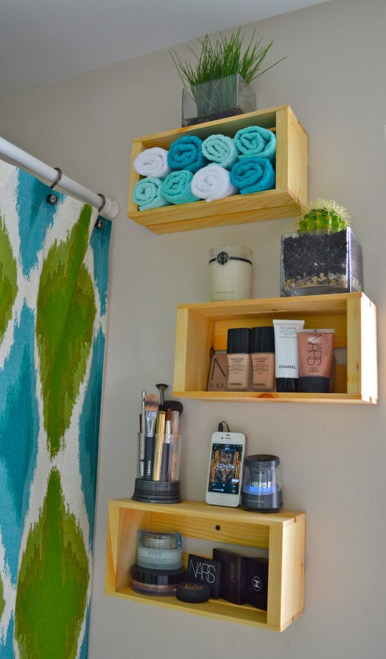 Permalink to Wooden Crate Bathroom Shelves